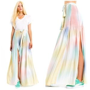 NWT Wildfox Encore Rainbow Pleated Maxi Skirt